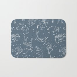 Origami Constellations - geometric animals constellations design - blue Bath Mat