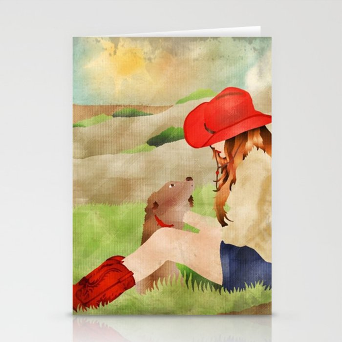 Cowgirl and Her Dog Stationery Cards