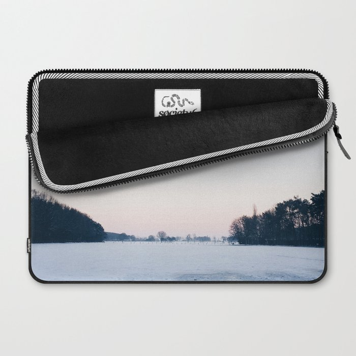 Snow: A Winter Sunset Full of Pink, White & Blue Laptop Sleeve