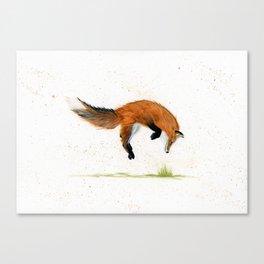 Jumping Jack Fox - animal watercolor painting Canvas Print