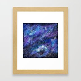 Blue Space Galaxy Framed Art Print