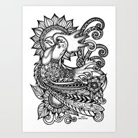rooster Art Prints featuring Rooster by MotherSpoon