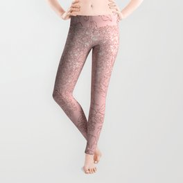 Elegant pink rose gold glitter gradient floral Leggings