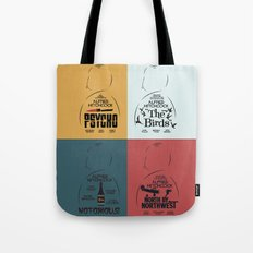 Four Hitchcock Movie Posters in One (Psycho, The Birds, North by Northwest, Notorious) Tote Bag