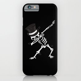 Dabbing dance Skeleton with cylinder iPhone Case