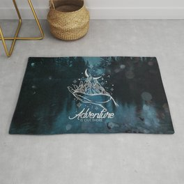 Adventure Is Out There Forest Lake Reflection - Nature Photography Rug
