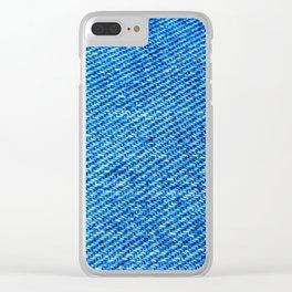 Blue denim texture Clear iPhone Case
