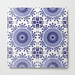 BLUE AND WHITE - PAISLEY - GEOMETRIC SHAPES Metal Print