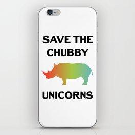 Save The Chubby Unicorns Funny Vintage Retro Rhino Shirt Gift iPhone Skin