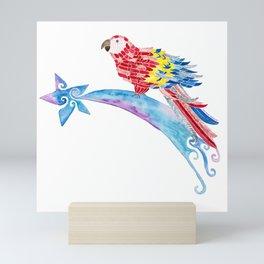 Scarlet macaw making a wish Mini Art Print