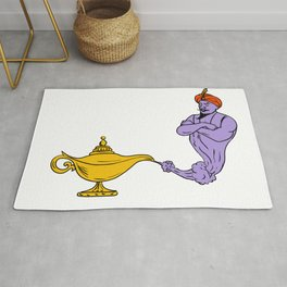 Genie Coming Out of Golden Oil Lamp Drawing Color Rug