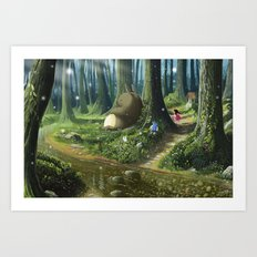 Totoro and Mei Art Print