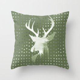 Green Deer Abstract Footprints Landscape Design Throw Pillow