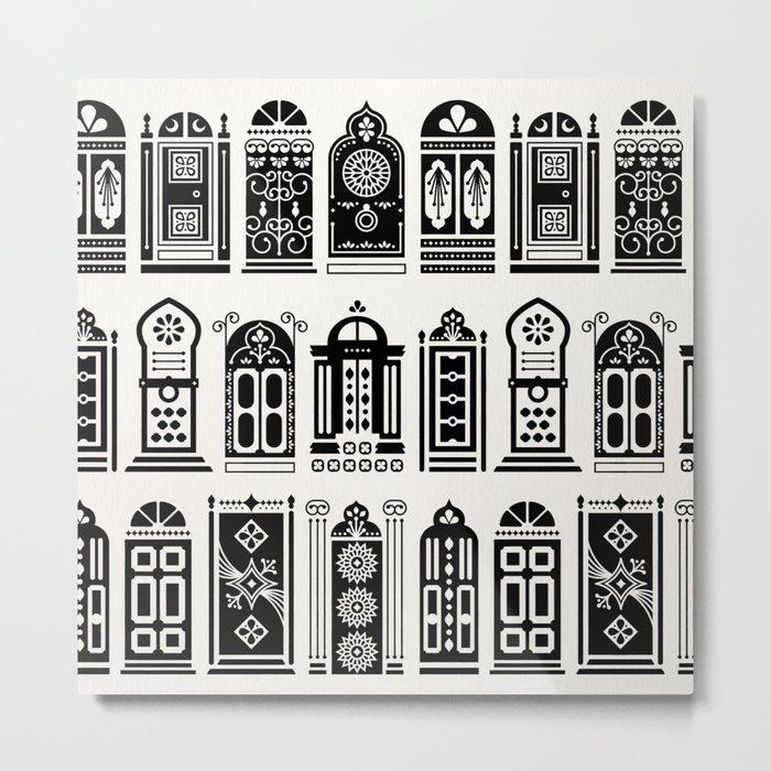 Moroccan Doors – Black Palette Metal Print