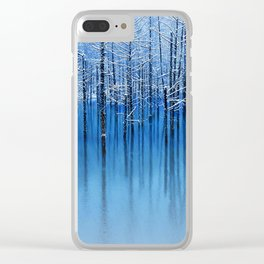 Winter Trees Glazed in Ice Reflecting in Pond Clear iPhone Case