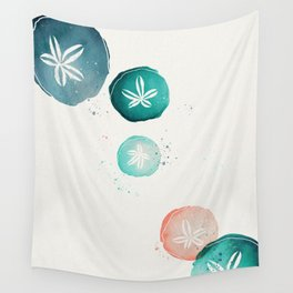 Watercolour Sand Dollars - Teal & Coral Wall Tapestry