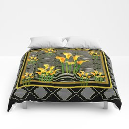 Golden Calla Lilies Black-Grey Harlequin Art Comforters