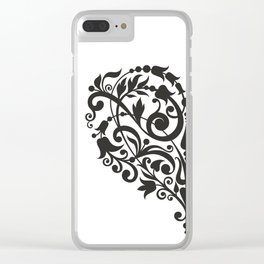 Doodle heart flowers inspired Clear iPhone Case