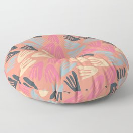 Papier Découpé Modern Abstract Cutout Pattern in Bright Pink, Steel Blue, Cream, and Apricot Floor Pillow