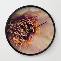 peony Wall Clocks featuring peony by inourgardentoo