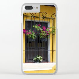 Window at Old Antigua, Guatemala Clear iPhone Case
