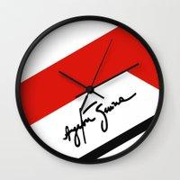 senna Wall Clocks featuring Ayrton Senna Mclaren Honda Formula 1 by Krakenspirit