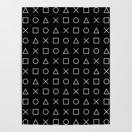 gamer pattern black and white  - gaming design black Poster