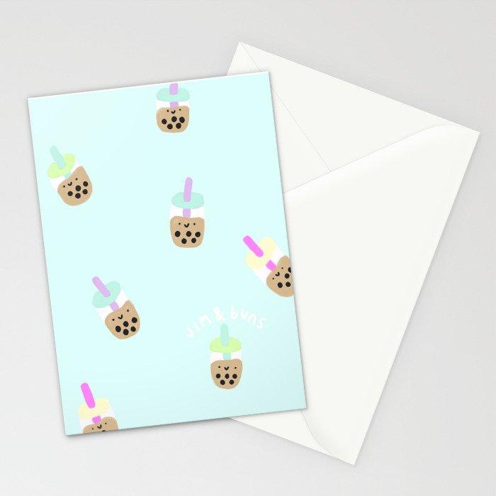 Blue Boba Milk Tea Stationery Cards