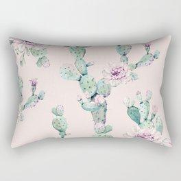 Cactus Rose Pattern on Pink Rectangular Pillow