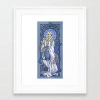 nouveau Framed Art Prints featuring Galadriel Nouveau by Karen Hallion Illustrations