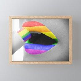 Rainbow Lipstick Framed Mini Art Print