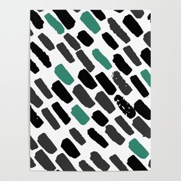 Oblique dots black and white green Poster