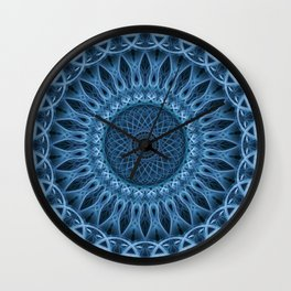 Cold blue mandala Wall Clock
