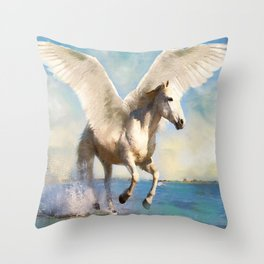 Pegasus taking flight Throw Pillow