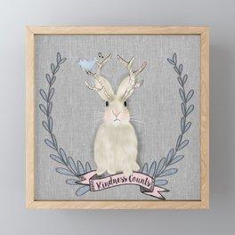 Kindness counts bunny jackalope rabbit Framed Mini Art Print
