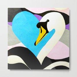 Swan Heart Metal Print