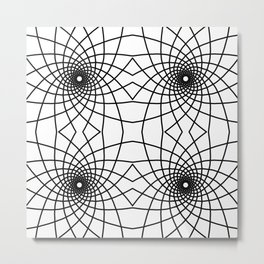 Geometric Spiral Line Art Pattern Tile Metal Print