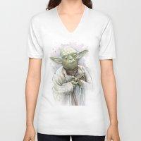 yoda V-neck T-shirts featuring Yoda  by Olechka