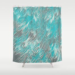 feathered lines in teal Shower Curtain