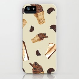 Seamless pattern: ice cream, cheesecake, cookie iPhone Case
