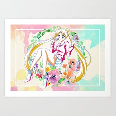 Strawberry Cake Watercolor Art Print