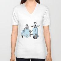 vespa V-neck T-shirts featuring Vespa by flapper doodle