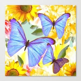 Bright Blue Butterflies Yellow Flowers #decor #society6 #buyart Canvas Print