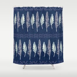 Midnight Blue Feather Formation Shower Curtain
