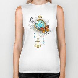 Compass with Butterflies Biker Tank