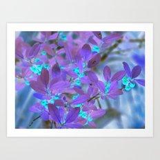 Teal berries with purple leaves Art Print