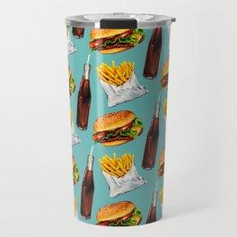 Cheeseburger Fries & Soda Pattern Travel Mug