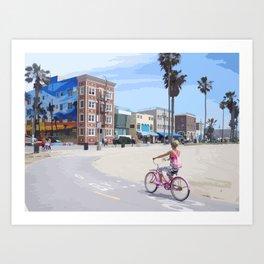 Riding bike in Venice Beach Art Print