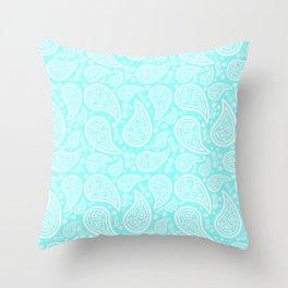 Paisley (White & Aqua Pattern) Throw Pillow