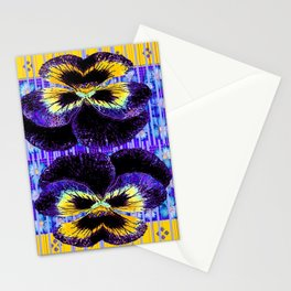 Western Style Double Purple & Gold Pansy Stationery Cards